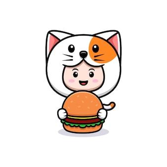 햄버거 아이콘 일러스트와 함께 고양이 의상을 입고 귀여운 소년의 디자인