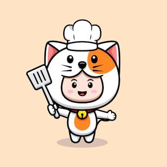 요리사 도구 아이콘 일러스트와 함께 고양이 의상을 입고 귀여운 소년의 디자인