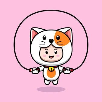 고양이 의상 운동 아이콘 일러스트를 입고 귀여운 소년의 디자인