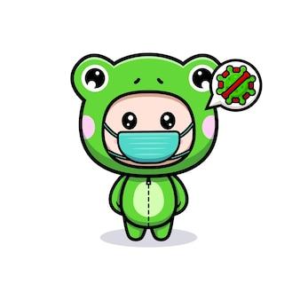 Дизайн милого мальчика в костюме лягушки и маске