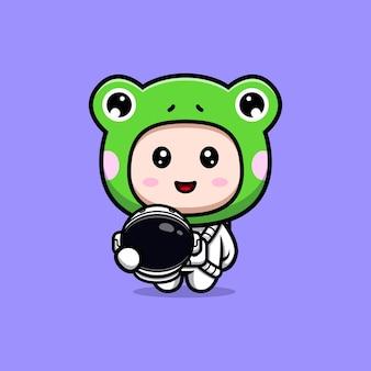 Дизайн симпатичного мальчика в костюме лягушки с костюмом космонавта