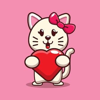 Дизайн милого кота, обнимающего сердце любви
