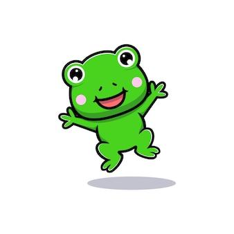かわいいカエルのジャンプのデザイン