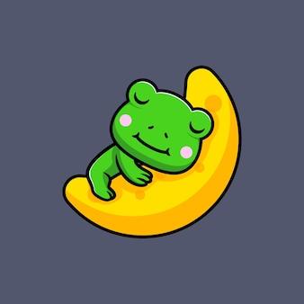 月に眠るかわいいカエルのデザイン