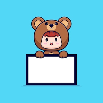 クマの衣装を着て、空白のテキストボードを保持しているかわいい女の子のデザイン