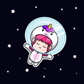 우주 아이콘 그림에 떠 있는 유니콘 의상을 입고 귀여운 소녀의 디자인