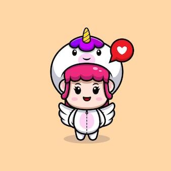 날개 아이콘 일러스트와 함께 유니콘 의상을 입고 귀여운 소녀의 디자인