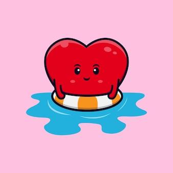 Дизайн милого сердечного персонажа, плавающего на плоской иллюстрации талисмана