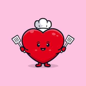 Дизайн милого сердечного шеф-повара, плоского талисмана