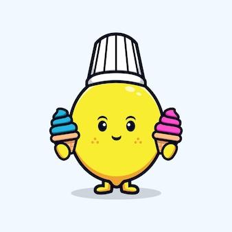 아이스크림 플랫 마스코트 삽화를 들고 있는 귀여운 레몬 캐릭터 요리사의 디자인