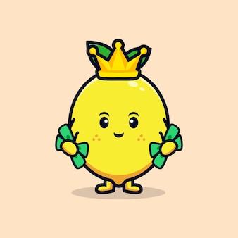 귀여운 레몬 캐릭터 플랫 마스코트 일러스트 디자인