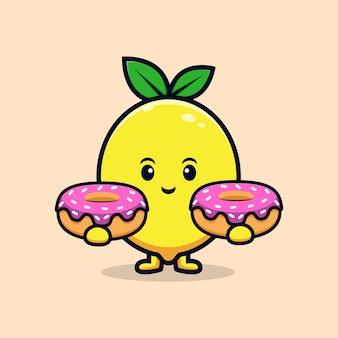 도넛 플랫 마스코트 그림을 들고 귀여운 레몬 캐릭터의 디자인