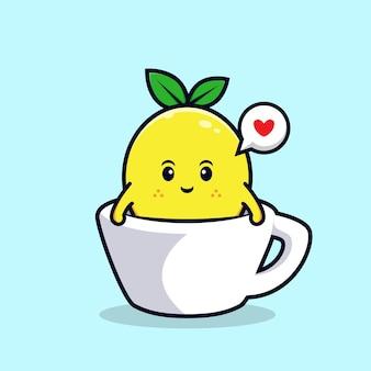 컵 평면 마스코트 그림 안에 귀여운 레몬 캐릭터 디자인