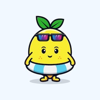 평평한 마스코트 그림을 수영할 준비가 된 귀여운 레몬 캐릭터 디자인
