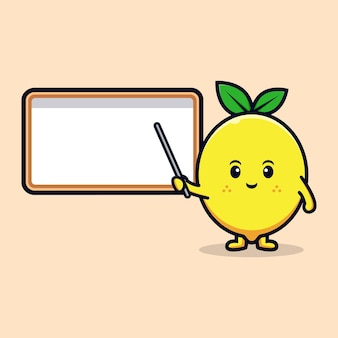 빈 화이트 보드 평면 마스코트 일러스트와 함께 귀여운 레몬 캐릭터의 디자인