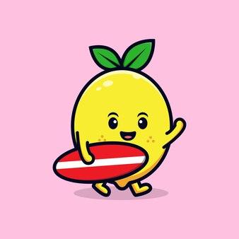 서핑 보드 평면 마스코트 일러스트와 함께 귀여운 레몬 캐릭터 디자인