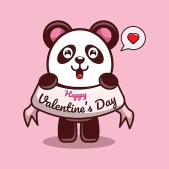 해피 발렌타인 데이 인사말을 들고 귀여운 팬더의 디자인