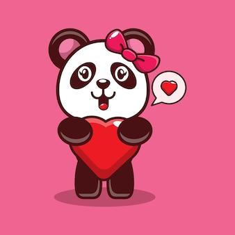 귀여운 팬더 huging 하트 디자인