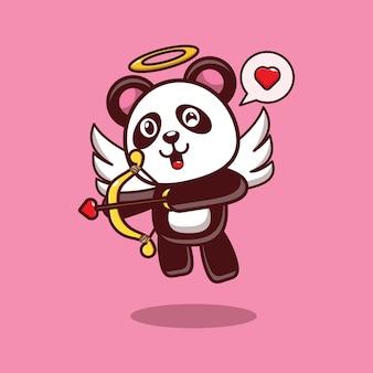 사랑의 화살을 가진 귀여운 팬더의 디자인