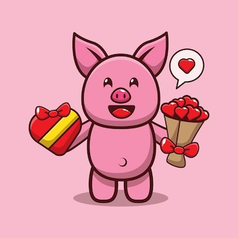Дизайн милой свиньи, держащей подарок на день святого валентина и любовный букет