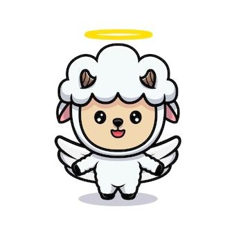 かわいい羊の天使のデザイン