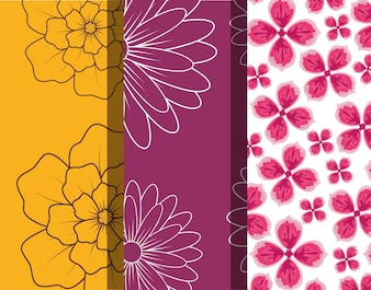 Design of differents and beautiful tropical flowers patterns