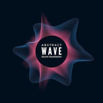 디지털 방사형 음파 설계. 추상 오디오 이퀄라이저 효과. 음악 충동의 동적 스펙트럼.
