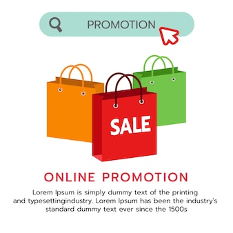 Design of flat shopping bag promotion banner