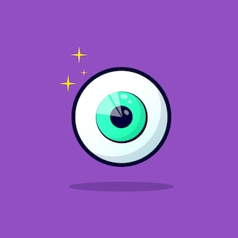 보라색에 고립 된 녹색 안구 만화 아이콘의 디자인