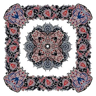 Дизайн косынки с декоративными цветочными элементами в винтажном стиле