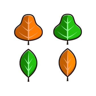 Дизайн набора листьев, изолированные на белом фоне. простой мультяшный плоский стиль. изолированные векторные иллюстрации дизайн для наклеек, логотипов, веб-сайтов и мобильных приложений.