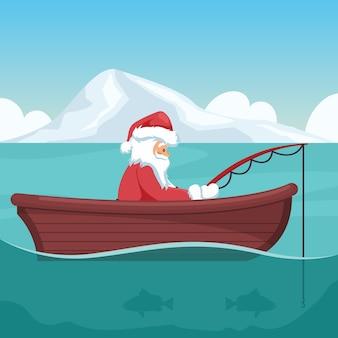 Дизайн санта-клауса, ловящего рыбу в своей лодке на рождество