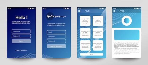 セットのモバイルアプリケーション、ui、uxのデザイン。