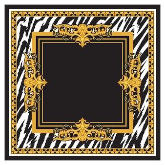 金色のロココ調の要素と動物の皮のプリントが施されたシルクスカーフのデザイン