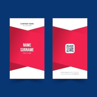 붉은 색과 qr 코드 아이콘이 있는 간단한 id 카드 템플릿 디자인