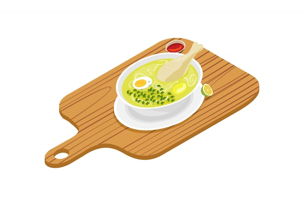 수프 접시 또는 닭고기 국물의 디자인