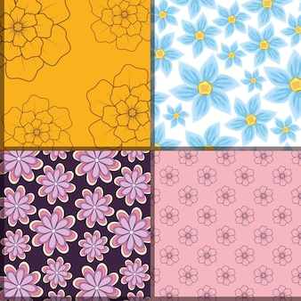 Design of squares of beautiful and tropical flowers patterns