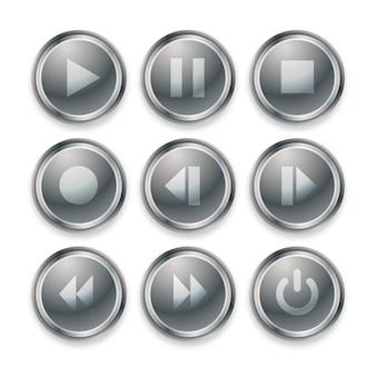 재생 버튼의 디자인은 메탈 그레이 색상으로 설정됩니다.