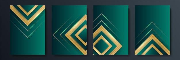 勾配と幾何学的に交差する線の形状を持つベクトルのミニマルなカバーのデザイン。ダークグリーンとゴールドのバナーデザイン。モダンなカバーテンプレートセット