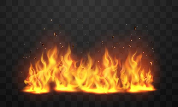 Дизайн виртуальной кучи пламени, которая показывает реалистичное тепло