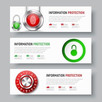 Дизайн белых баннеров для защиты данных и информации