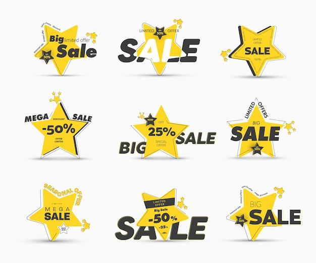 Дизайн желтых баннеров в форме звезды с асимметричным внешним штрихом для мега-распродаж. шаблоны с процентными скидками, специальными и сезонными предложениями. набор наклеек