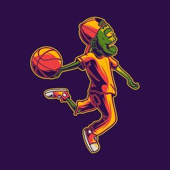 Дизайн иллюстрации зомби, играющего в баскетбол