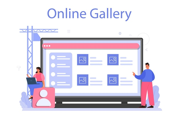 Design online service or platform. graphic, web, printing design. digital drawing with electronic tools and equipment. online gallery.