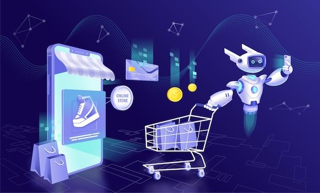 Design   online shopping art concept
