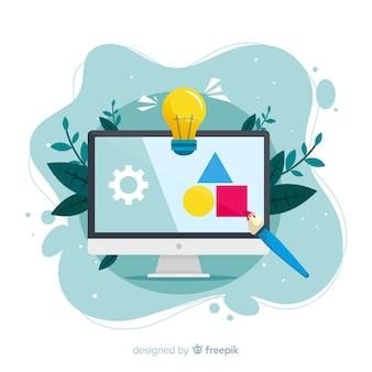 Концепция процесса проектирования для целевой страницы Бесплатные векторы