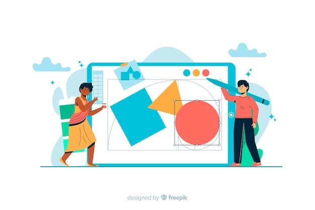 Design process concept for landing page