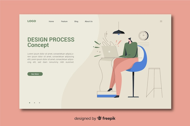 Design process concept for landing page