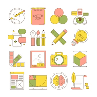 Design process icons. packing art creative web products and services blogging retouch stationary  flat pictures