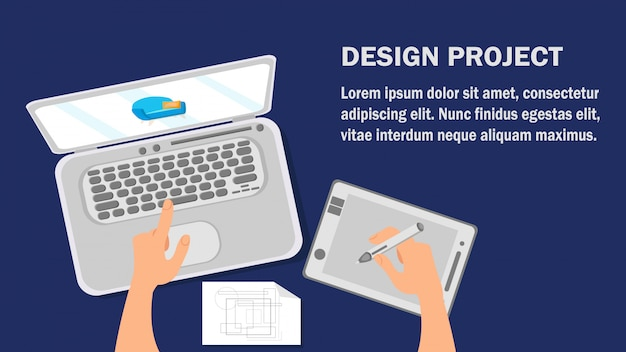Design project website flat banner vector template